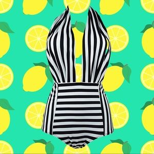 Stripped Black and White Retro One Piece Swimsuit
